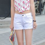 Review Denim Shorts Elastic Waist Slim Hole Jeans White Export Intl Not Specified