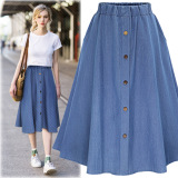 Sale Women S Plus Size Long Denim Skirts Dark Blue Color Navy Blue Dark Blue Color Navy Blue On China