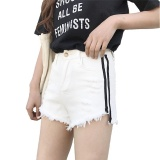 New Distressed Denim Side Striped Shorts White Intl