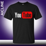 Price Comparisons For Diy New Youtube Logo Print Brand Tops Cotton Short Sleeve Summer T Shirts Casual Custom Hip Hop Men Tee Black Intl
