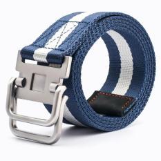 Double Loop Buckle Striped Canvas Tactical Belt 110cm (Blue) - intl