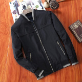 Coupon Men S Leisure Stand Collar Cotton Long Sleeve Jacket Black Black