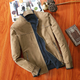 Compare Price Men S Leisure Stand Collar Cotton Long Sleeve Jacket Deep Khaki Color Deep Khaki Color On China