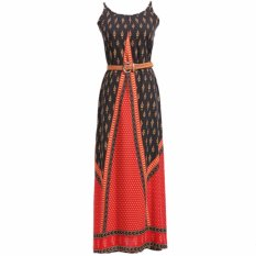 Sale Dr238 Women S Ethnic Nation Style Bohemia Retro Spaghetti Strap Cotton Geometric Print Beach Maxi Long Dress With Belt S M L Xl Xxl Intl Online On China