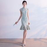 Best Fresh New Style G*rl S Gai Liang Edition Dress Cheongsam Elegant Green