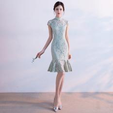 Discount Fresh New Style G*rl S Gai Liang Edition Dress Cheongsam Elegant Green