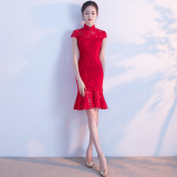 New Fresh New Style G*rl S Gai Liang Edition Dress Cheongsam Festive Red