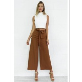 Price Eachgo Fashion Lady Casual Wide Leg High Waist Belt Palazzo Casual Ankle Long Pants Loose Trousers Brown Intl Eachgo Online