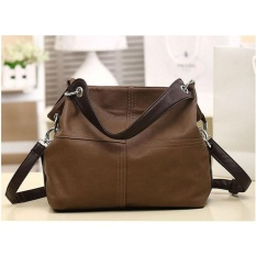 Eachgo New Fashion Retro Leather Women Handbag Khaki Intl Cheap