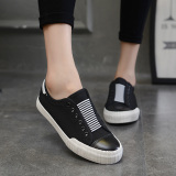 Cheaper Yi Dihan Edition Solid Color Slip On Shoe Lace Loafers Canvas Shoes Black