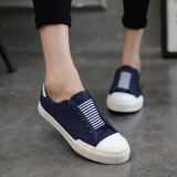 Cheaper Yi Dihan Edition Solid Color Slip On Shoe Lace Loafers Canvas Shoes Blue