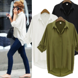 Compare Prices For Women S Loose Fitting Turndown Collar Chiffon Long Sleeve Blouse