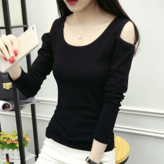Price Cotton Solid Color Plus Sized Slimming Effect Stretch Long Sleeved T Shirt Compassionate Shirt Black Black Oem New