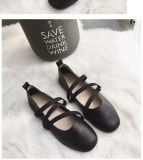 Elastic Ribbon Round Flat Grandma Shoes Shoes Black Price Comparison