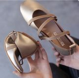 Elastic Ribbon Round Flat Grandma Shoes Shoes Champagne Color Free Shipping