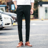 Price Comparisons Elastic Straight Men Blue Suit Pants Work Wear Formal Black Pants Casual Mens Business Trousers