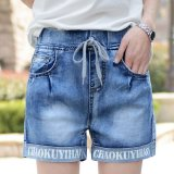 Best Deal Elasticated Damaged Turnup Jeans Shorts Womens Plus Size Vintage Casual Jeans Shorts For Ladies Summer Washed Denim Shorts Femme Blue Intl