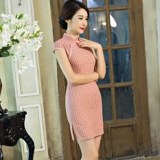 Sale Elegant Artistic G*Rl S Plaid Elegant Dress Cheongsam 1836 Oem