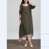 Sale Elegant Boho Hippie Women Long Sleeve O Neck Cotton Linen Casual Long Maxi Dress Intl Oem Cheap