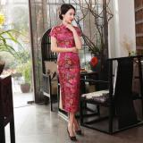 Sale Elegant Brocade Front Slit Buckle Etiquette Work Clothes Long Cheongsam J25 Rose Oem Wholesaler