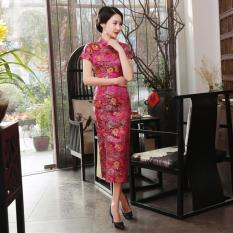 Elegant Brocade Front Slit Buckle Etiquette Work Clothes Long Cheongsam J25 Rose Reviews