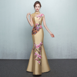 Sale Stylish Female New Style Spring Evening Gown Champagne Gold Embroidered Cheongsam Collar China Cheap