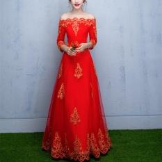 Elegant Flower Appliques Out Off Shoulder Half Sleeve Wedding Dress Formal Dress Intl For Sale
