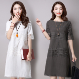 Female Korean 3 4 Linen Cotton Short Sleeve Dress Opaque White Gray Gray Gray Coupon