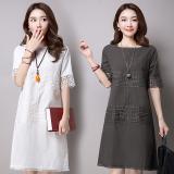 Where To Buy Female Korean 3 4 Linen Cotton Short Sleeve Dress Opaque White Gray Gray Gray