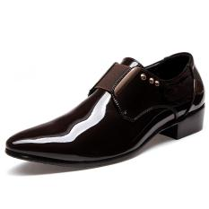 Best Deal Elegant Men Dress Shoes Patent Leather Black Wedding Flats Pointed Toe Shining Metalic Big Size Intl