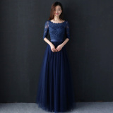 Sale Women S Elegant Long Black Gown 390 Dark Blue Color Long 390 Dark Blue Color Long Oem On China