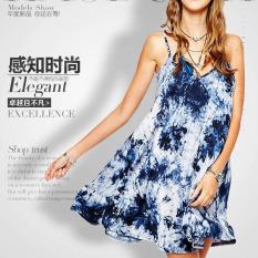 Buying Elegant Vintage Ink Tie Dye Print Spaghetti Strap Dress