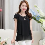New Elegant Summer Plus Size Women Chiffon Blouses Shirts O Neck Short Sleeve Double Irregular Solid Fashion Casual Ladies Tops Blusas Color Black Intl