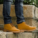 How To Get Elife Winter Autumn Men S Oxfords Martin Boots Non Slip Lace Up Pu Leather Shoes Yellow Intl