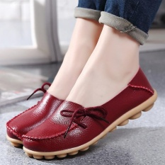 Elife Women Comfortable Lace Up Leather Loafers Flats Soft Ballet Round Toe Flat Shoes Wine Red Intl Reviews