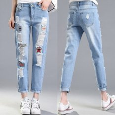 Buy Cheap Embroidery Cloth Paste Ripped Jeans Special Offer Softener Pockets Patchwork Low Fashion Jeans For Women Hole Vintage Girls Denim Pencil Pants Light Blue Intl