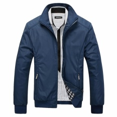 Where To Shop For Encontrar New Men Solid Business Classic Bomber Jackets M 5Xl Navy Blue Intl