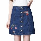 Sale Encontrar Women Embroidery High Waist A Line Denim Skirt S 3Xl Dark Blue Intl Oem Branded