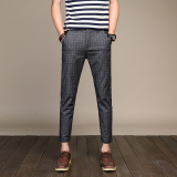 Men S British Style Slim Fit Cropped Pants Gray Online