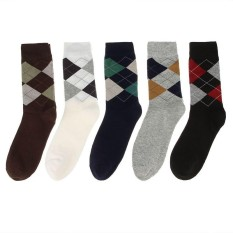Price Compare Eozy 5 Pair Fashion Mens Classic Rhombus Pattern Business Socks Autumn Winter Thick Warm Casual Socks Intl