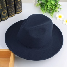 Where Can You Buy Eozy Trendy Men S Casual Fedora Hat Panama Cap Korean Style Male Autumn Winter Outdoor Soft Warm Woolen Hat Top Hat Fashion Accessories Navy Blue Intl