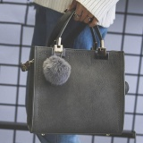 Best Deal Era Women Square Handbag Pu Tote Bag Large Shoulder Messenger Bags With Fur Ball Intl