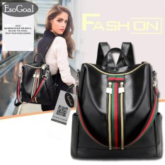 How To Get Esogoal Women Lightweight Leather Strip Backpack Purse Versatile Shoulder Bag With Shoulder Straps Intl