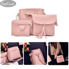 Esogoal Women S Pu Leather Handbag Shoulder Bag Purse Card Holder 4Pcs Set Tote Pink Intl Best Price