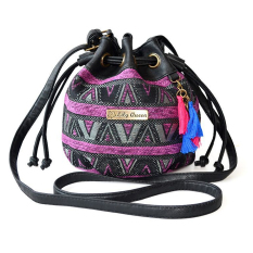 Ethnic Canvas Drawstring Mini Bucket Backpack Shoulder Bag Satchel Purple Deal