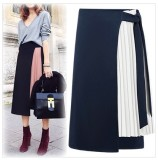 Review Euramerican Woman Chiffon Skirt Midi Temperamental Lady Patchwork Pleated Skirt Fake Two Pieces Split Skirts Intl On China