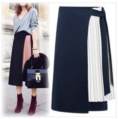 Buy Euramerican Woman Chiffon Skirt Midi Temperamental Lady Patchwork Pleated Skirt Fake Two Pieces Split Skirts Intl Oem Online