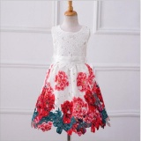 Price Comparisons Europe And The United States Children Autumn And Winter Dress Lace Red Flower G*rl Dress Skirt Princess Skirt Intl