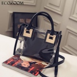 Sale Europe Fashion Women Transparent Pvc Handbag Summer Sweet Lady Jelly Clear Plastic Beach Bag Candy Color Shoulder Bags Tote Bag Black Intl China