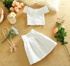 Discount Europe Station Sweet Elastic Horizontal Neck Bandage Suit White Suit White Suit Oem On China